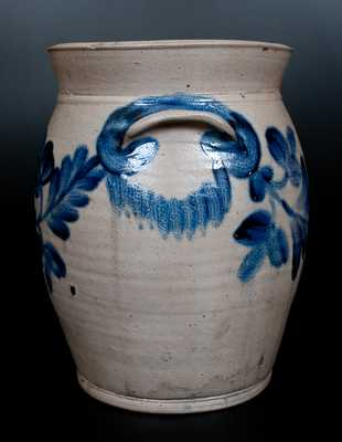 Three-Gallon H. MYERS, Baltimore, 1822-29 Stoneware Jar w/ Bright Cobalt Floral Decoration