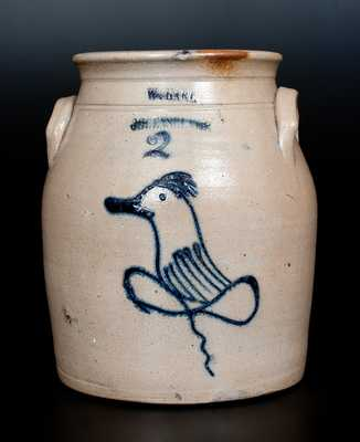 W. HART / OGDENSBURGH Stoneware Jar with Slip-Trailed Bird Decoration