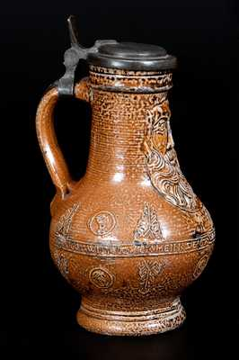 Rare Bellarmine Stoneware Jug w/ Inscribed Body, probably Frechen, Germany, 16th century