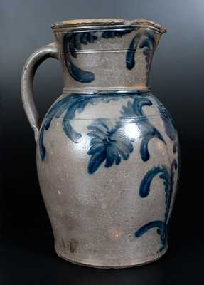 Extremely Rare J. KEISTER & CO. / STRASBURG, VA Three-Gallon Stoneware Pitcher w/ Elaborate Floral Decoration