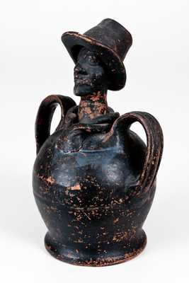 Exceptional African American Figural Redware Bank