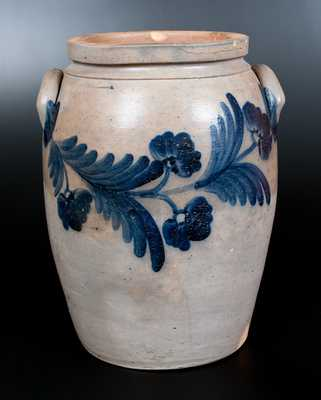 Four-Gallon Baltimore Stoneware Jar with Cobalt Floral Decoration
