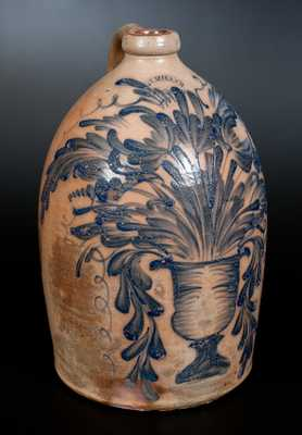 Exceedingly Rare M. & T. MILLER / NEWPORT, PA Stoneware Jug w/ Elaborate Flowering Urn Decoration