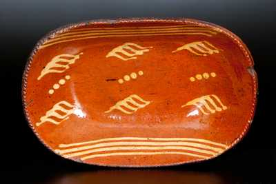 Redware Loaf Dish with Yellow Slip Decoration, Pennsylvania, circa 1830