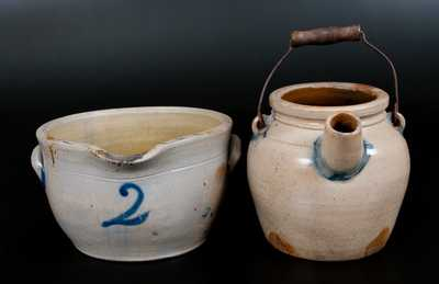 Lot of Two: Stoneware Milkpan and N. WHITE & CO. BINGHAMTON Stoneware Batterpail
