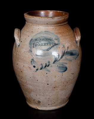 Very Rare W. NICHOLS / PO'KEEPSIE Decorated Stoneware Jar, Poughkeepsie, NY, circa 1823