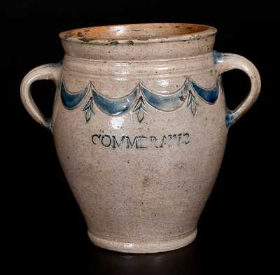 Exceptional COMMERAWS STONEWARE Vertical-Handled Stoneware Jar, Corlears Hook, Manhattan, NY, c1800