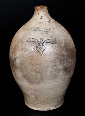 SWAN & STATES / STONINGTON, CT Two-Gallon Stoneware Jug with Incised Design