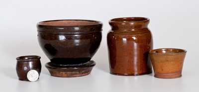 Four Glazed American Redware Articles