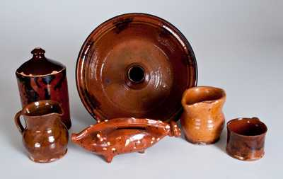 Six Pieces of Glazed Redware, primarily American