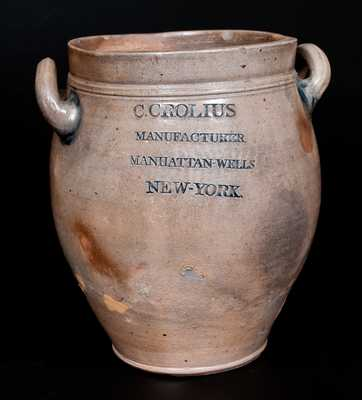 C. CROLIUS / MANUFACTURER / MANHATTAN-WELLS / NEW-YORK Incised Stoneware Jar