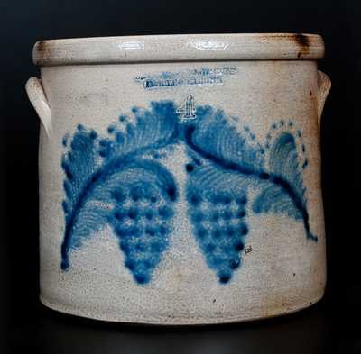 SEYMOUR & BOSWORTH / HARTFORD, CONN Stoneware Crock w/ Cobalt Grapes Decoration