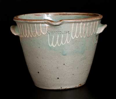 Scarce CHANDLER Edgefield, SC Stoneware Milkpan with Kaolin Slip Decoration
