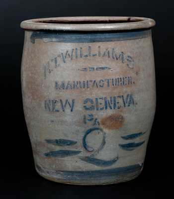 R.T. WILLIAMS. / MANUFACTURER. / NEW GENEVA. / PA Two-Gallon Stoneware Jar
