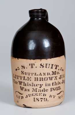 Tanware S.T. SUIT. / SUITLAND, MD Whiskey Jug, 1879