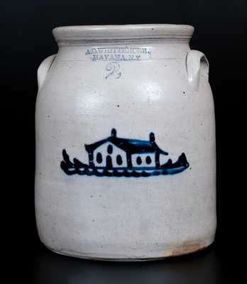 A.O. WHITTEMORE. / HAVANA. N.Y Two-Gallon Stoneware Jar w/ House Decoration
