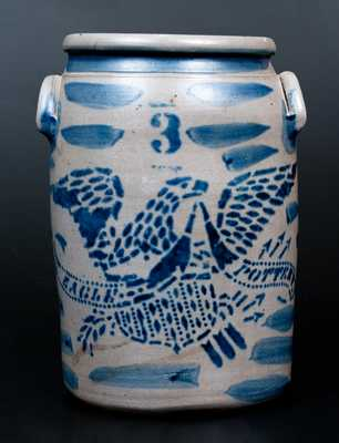 Fine EAGLE POTTERY (James Hamilton, Greensboro, PA) Three-Gallon Stoneware Jar