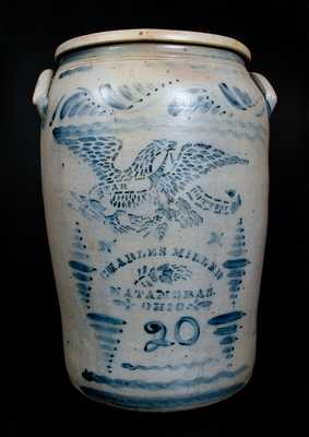 Rare Western PA 20 Gal. Stoneware Crock w/ MATAMORAS, OH Advertising and Eagle Decoration