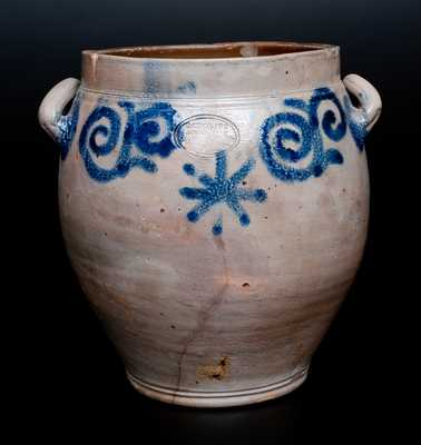 Extremely Rare C. CROLIUS Manhattan Stoneware Jar w/ Eighteenth-Century-Style Watchspring Design
