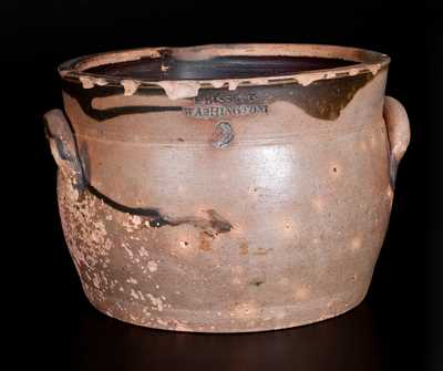 Rare E. BISSETT / WASHINGTON New Jersey Stoneware Spouted Milkpan