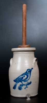 Rare One-Gallon New York State Stoneware Churn with Bird Decoration
