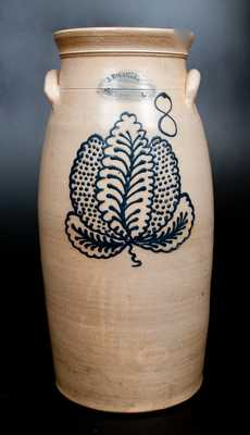 8 Gal. J. BURGER / ROCHESTER, N.Y. Stoneware Churn with Slip-Trailed Leaf Decoration