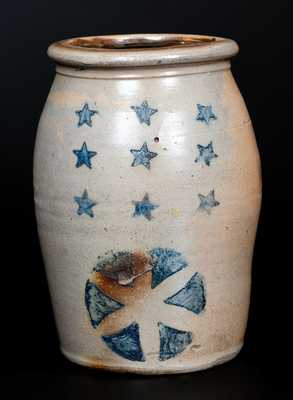 Unusual Western PA Stoneware Jar with Stars Decoration