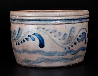 Western PA Stoneware Bowl with Cobalt Vine Decoration