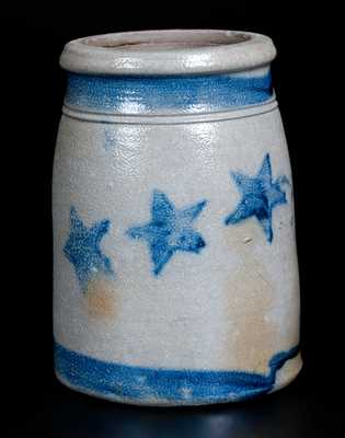 Fine One-Quart Western PA Stoneware Wax Sealer w/ Stars and Stripes Decoration
