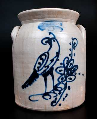 2 Gal. ITHACA, N.Y. Stoneware Jar with Slip-Trailed Bird Decoration