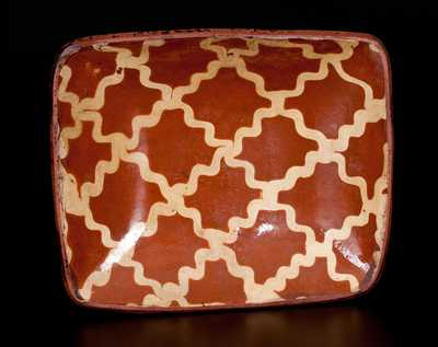 Exceptional PA Redware Loaf Dish w/ Latticework Slip Decoration
