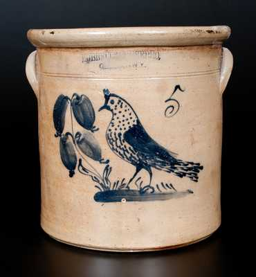 Unusual HUBBEL & CHEESEBRO / GEDDES, NY Stoneware Crock with Bird Decoration