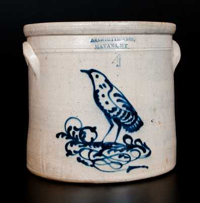 A. O. WHITTEMORE / HAVANA, NY Stoneware Crock with Slip-Trailed Bird Decoration