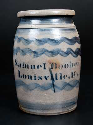 Fine Samuel Booker / Louisville, Ky Stoneware Canning Jar with Six Stripes