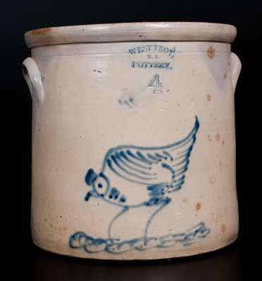 4 Gal. WEST TROY / N.Y. / POTTERY Stoneware Crock with Pecking Chicken Decoration