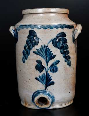 Stoneware Water Cooler w/ Cobalt Floral Decoration, attrib. Henry H. Remmey, Philadelphia, PA