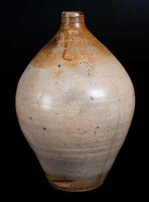 CHARLESTOWN (Mass.) Stoneware Jug with Impressed Diamond Designs