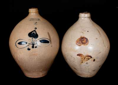 Lot of Two: 4 Gal. Ovoid Stoneware Jugs, L. NORTON & SON and JULIUS NORTON / BENNINGTON, VT