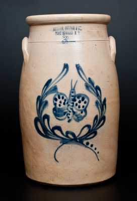 Rare HAXSTUN, OTTMAN & CO. / FORT EDWARD, N.Y. Stoneware Churn w/ Detailed Butterfly Decoration