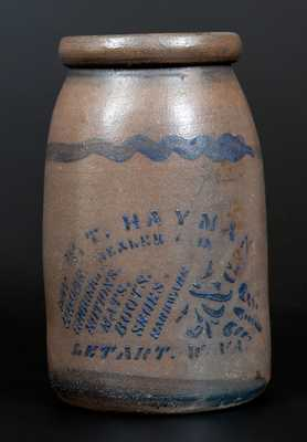 W. T. HAYMAN / LETART, W. VA Stoneware Canning Jar w/ Profuse Stenciled Merchant Advertising