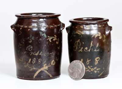 Lot of Two: Unusual Miniature Albany-Slip Stoneware Jars w/ Cold-Painted Dated Inscriptions