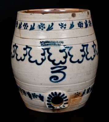 J. B. CAIRE & CO. / PO'KEEPSIE, NY Stoneware Keg w/ Profuse Slip-Trailed Decoration