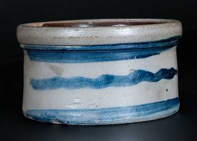 Western PA Stoneware Butter Crock with Cobalt Stripes