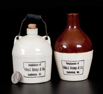 Lot of Two: Miniature J. J. STUMP / CUMBERLAND, MD Stoneware Jugs