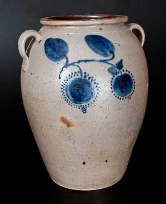 Outstanding 10 Gal. Ohio Stoneware Jar with Bold Cobalt Fruit Decoration