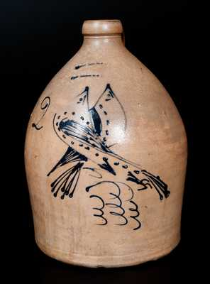 2 Gal. S. HART / FULTON Stoneware Jug with Double Bird Decoration