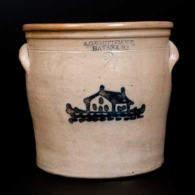 2 Gal. A. O. WHITTEMORE / HAVANA, N.Y Stoneware Jar with House Decoration
