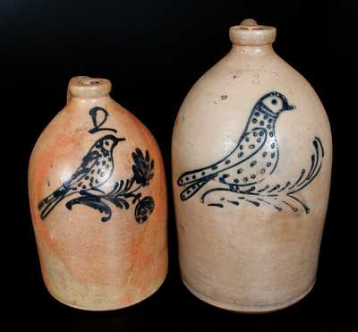 Lot of Two: EDMANDS & CO. Stoneware Jugs with Slip-Trailed Bird Decorations