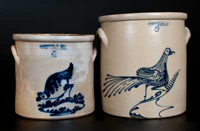 Lot of Two: Stoneware Crocks, J. NORTON Chicken and WHITES UTICA Bird