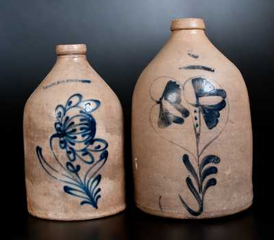Lot of Two: WHITES UTICA and N. WHITE & CO. BINGHAMTON Stoneware Jugs w/ Floral Decoration
